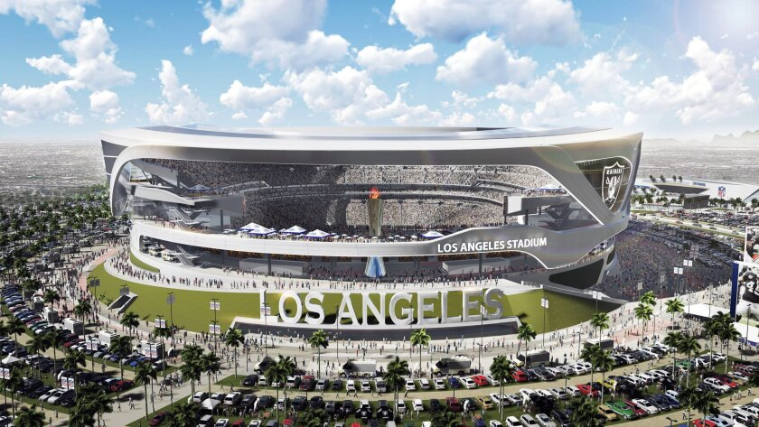 An artist's rendering shows the exterior of a proposed stadium that would house both the Chargers and the Raiders. It is shown here in Raiders home game configuration. (Manica Architecture/Carson2gether via AP)