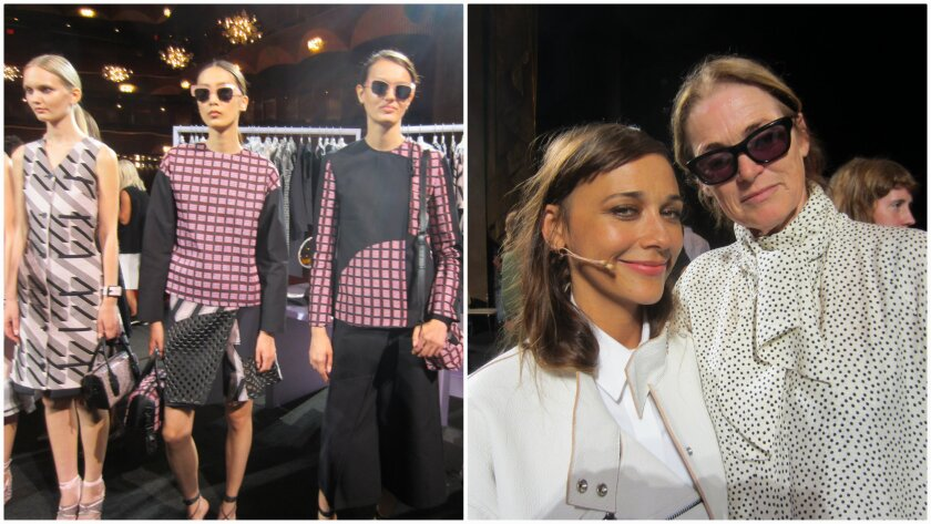 "At left, looks from the Opening Ceremony spring and summer 2015 women's collection presented during New York Fashion Week. At right, Rashida Jones, left, who played a fictional version of Vogue West Coast editor Lisa Love in the one-act play ""100% Lost Cotton"" with her real-life counterpart at right."