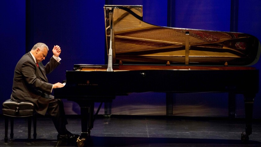 Pianist André Watts performs during a recital at the Broad Stage in Santa Monica.