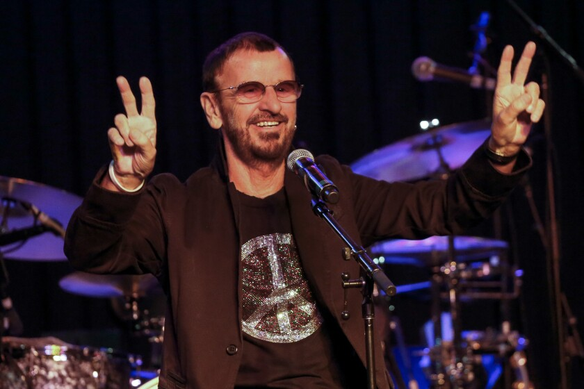 "Ringo Starr, during a performance Oct. 23 with his All Starr Band in Hollywood, gets his life story told in Mark Lewisohn's new biography ""Tune In: The Beatles: All These Years."""