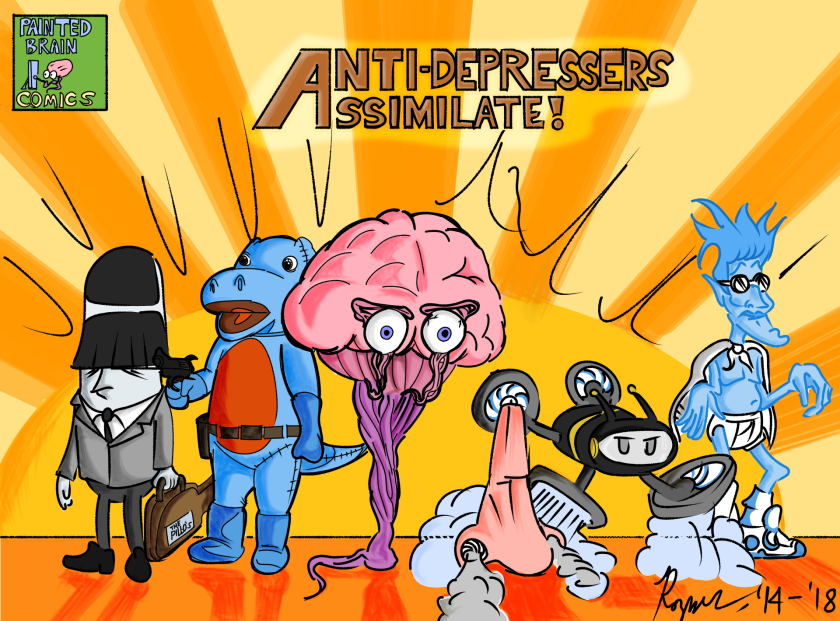 """A comic called """"Anti-Depressers Assimilate"""" with differerent superhero characters"""