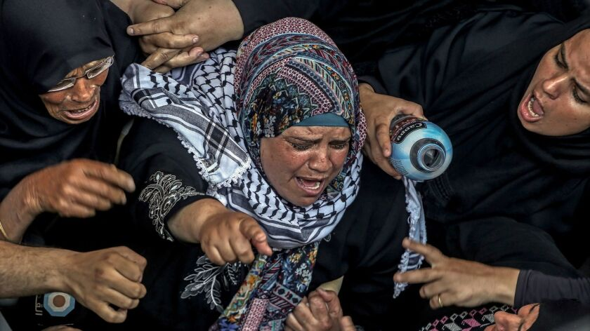 Funeral of Palestinian nurse killed by Israeli army in Gaza border protest, Khan Younis, --- - 02 Jun 2018
