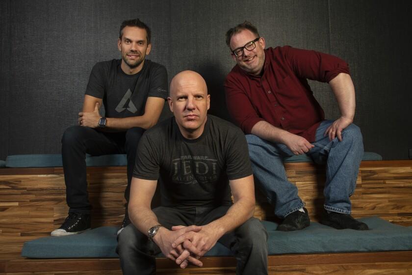 Chad Grenier, left, Stig Asmussen and Peter Hirschmann, heads of studio at Respawn Entertainment.
