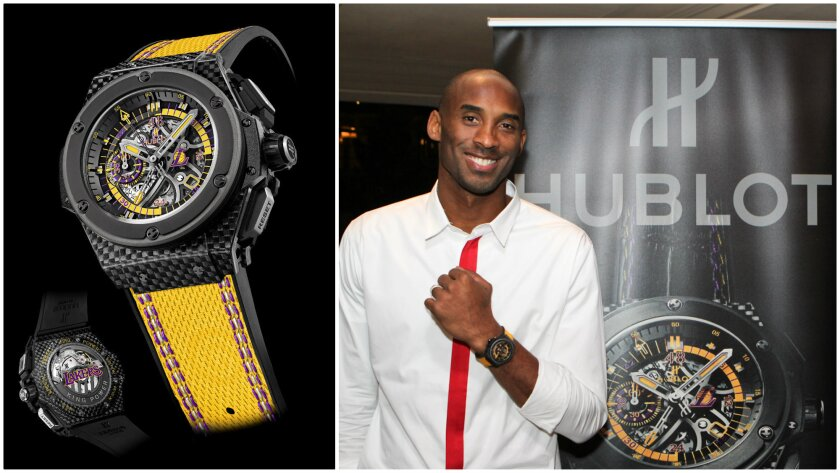The Hublot King Power Los Angeles Lakers watch ($27,900), left, and Laker Kobe Bryant, right, at a Nov. 6 Beverly Hills dinner celebrating the launch of the limited-edition timepiece.