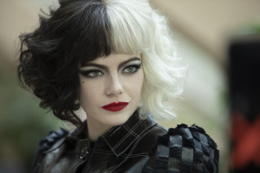 "Emma Stone with black-and-white hair in ""Cruella"""