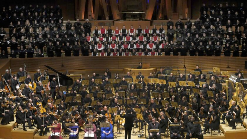 Gustavo Dudamel conducts the Los Angeles Philharmonic and a host of choruses and vocal soloists in Mahler's Symphony No. 8 at Walt Disney Concert Hall Thursday night.