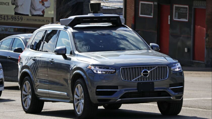 This March 17, 2017, photo shows an Uber self-driving Volvo in Pittsburgh. The Pennsylvania Departme