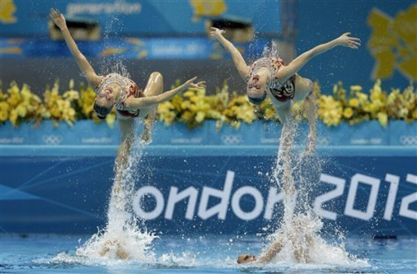 Members of the team of Russia are thrown up in the air during the women's team synchronized swimming technical routine at the Aquatics Centre in the Olympic Park during the 2012 Summer Olympics in London, Thursday, Aug. 9, 2012. (AP Photo/Michael Sohn)