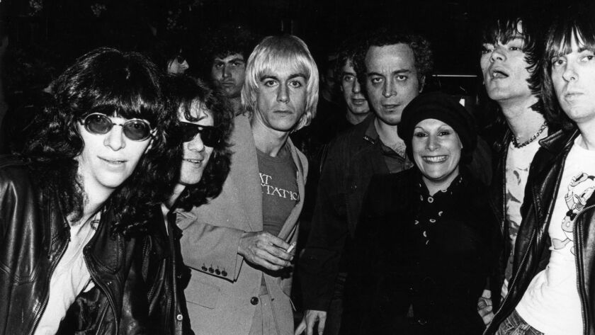 Stein, center, with Iggy Pop, the Ramones and Linda Stein at CBGB in New York in 1976.