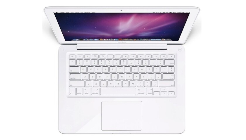 """A press image of Apple's """"unibody"""" MacBook laptop, in production from late-2009 to mid-2010."""