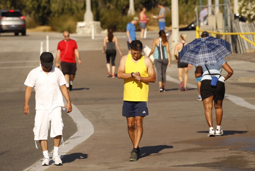 The exercise area around the Rose Bowl in Pasadena was busy early Monday morning,