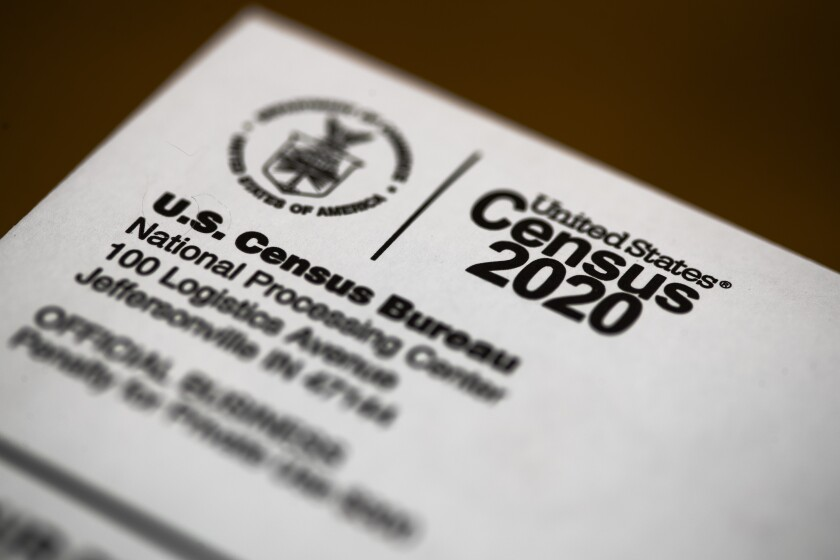 An envelope containing a 2020 census letter