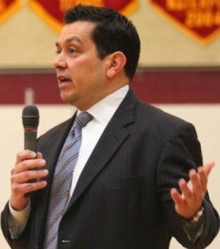 San Diego-based federal prosecutor Chris Tenorio speaks with The Bishop's School students about the challenges of prosecuting incidences of human trafficking, including the case of a La Jolla restaurant that kept its victims employed at slave wages.