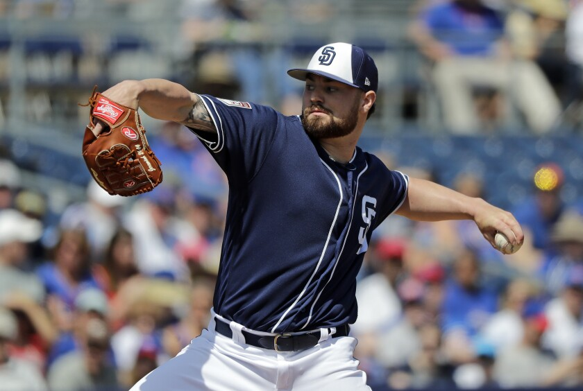 San Diego Padres starting pitcher Logan Allen throws to a Chicago Cubs batter during the first inning of a spring training baseball game Sunday, March 24, 2019, in Peoria, Ariz.