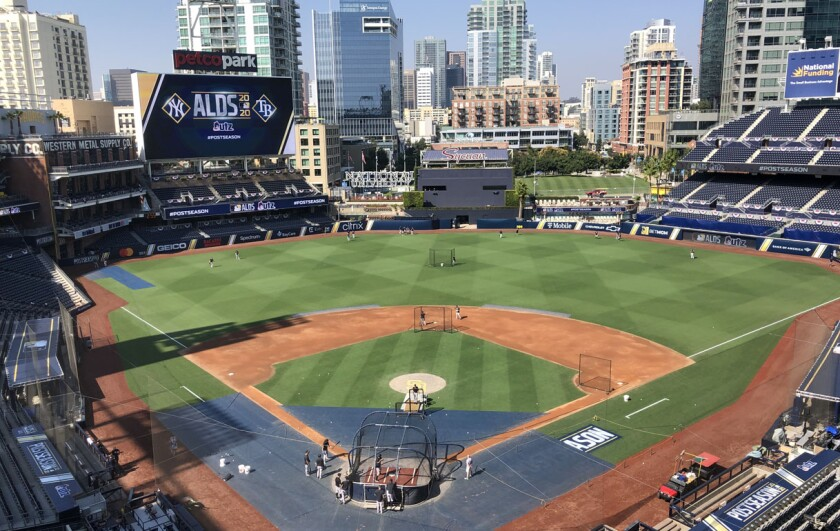 Yankees players work out at Petco Park on Sunday in preparation for meeting Tampa Bay in the 2020 ALDS.