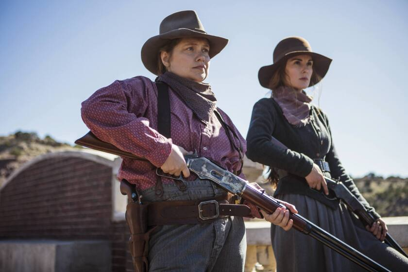 "Merritt Wever, left, and Michelle Dockery in ""Godless."""