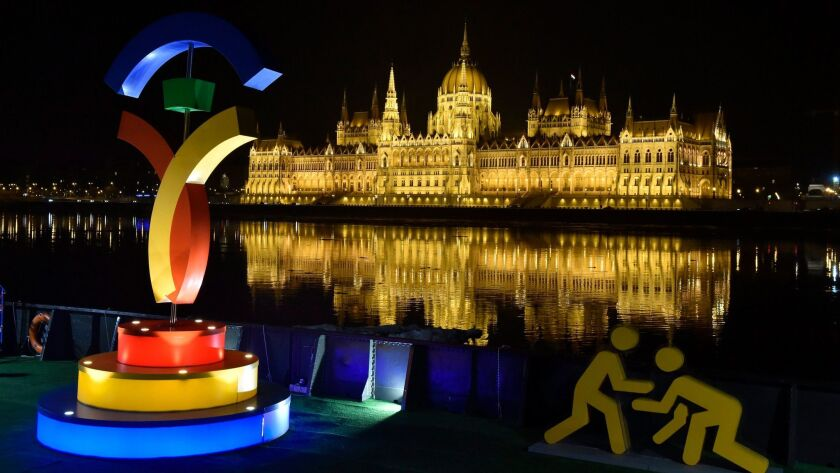 The Budapest 2024 logo glows in Batthyany Square in Budapest, Hungary, on Jan. 18.