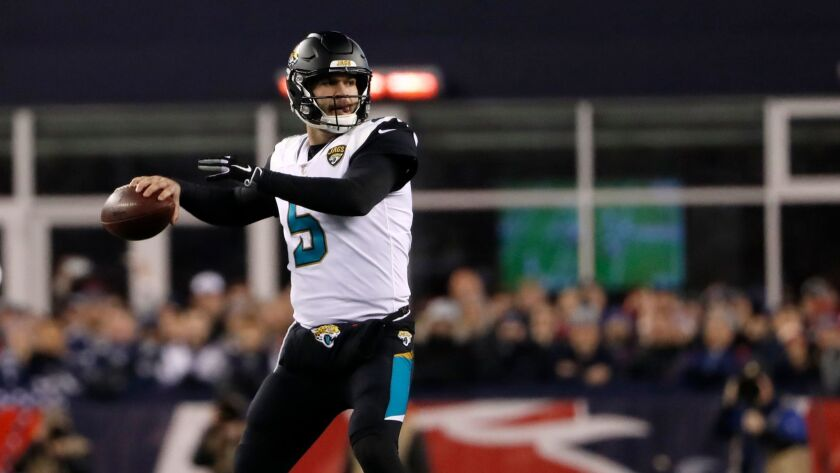 Jacksonville Jaguars quarterback Blake Bortles throws against the New England Patriots during the AFC Championship game.