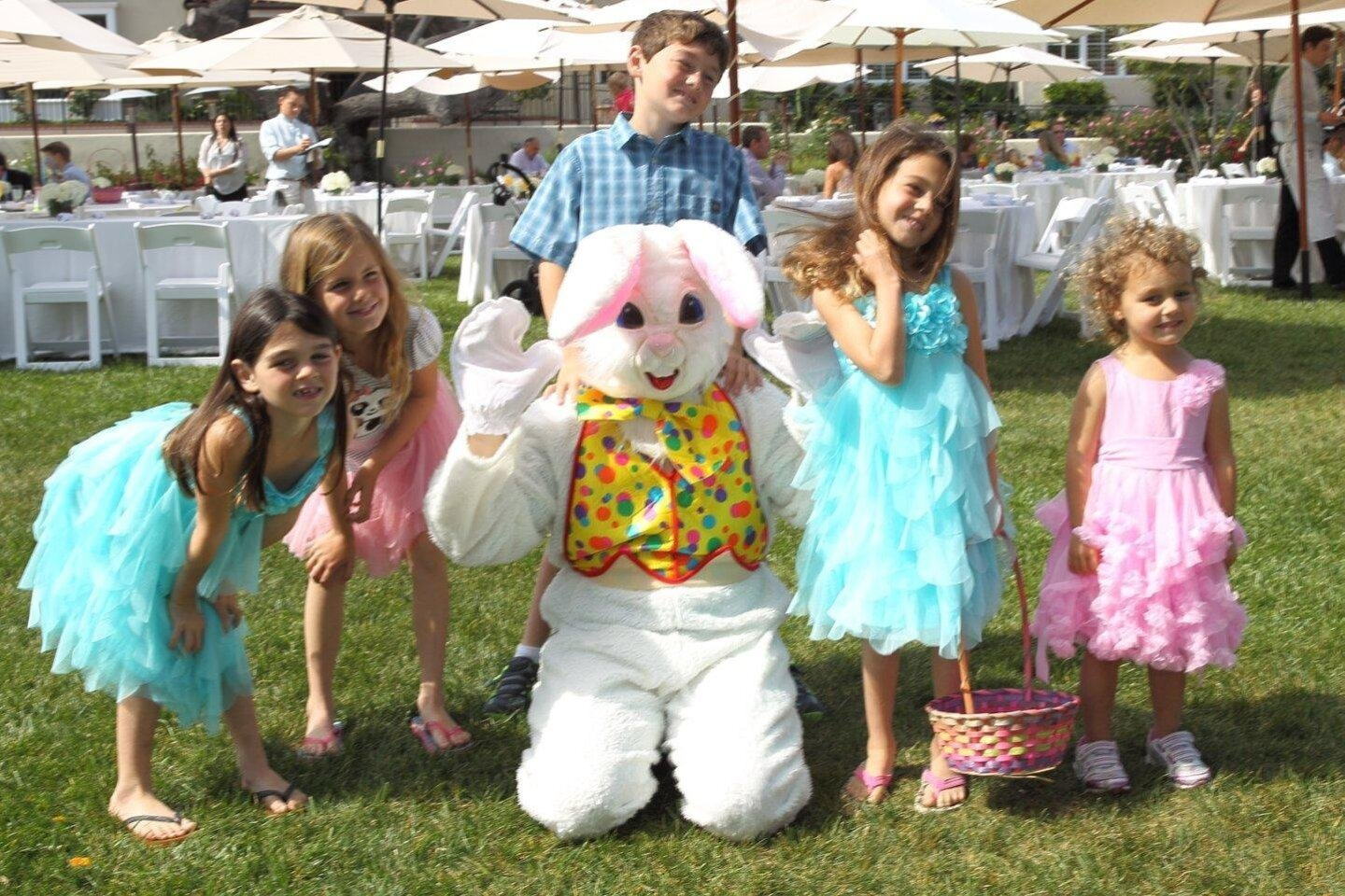 Ashlyn, Grace, Andrew, Reece, and Maddie with the Easter bunny