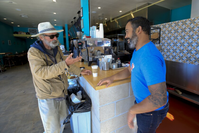 Ray Taylor, 58 has been homeless for the past eight years and for the past year or so has been hanging out next to Nomad Donuts in North Park. Brad Keiller, owner of Nomad Donuts, doesn't mind at all and often enjoys brief conversation with Taylor.