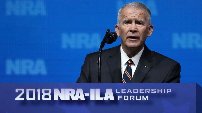 Lt. Col. Oliver North speaks at the NRA-ILA Leadership Forum in Dallas on May 4.