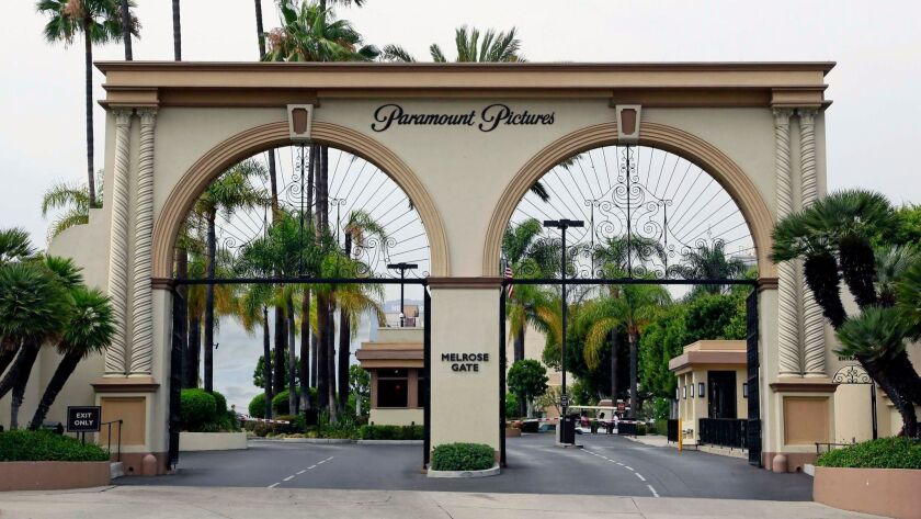 The main gate to Paramount Studios is seen on Melrose Avenue in Los Angeles in 2015.