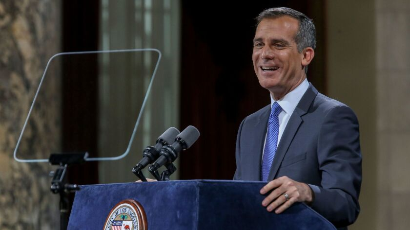 Mayor Eric Garcetti, shown during his 2017 State of the City speech, chose Rich Llewellyn, his former legal advisor, to become city administrative officer.