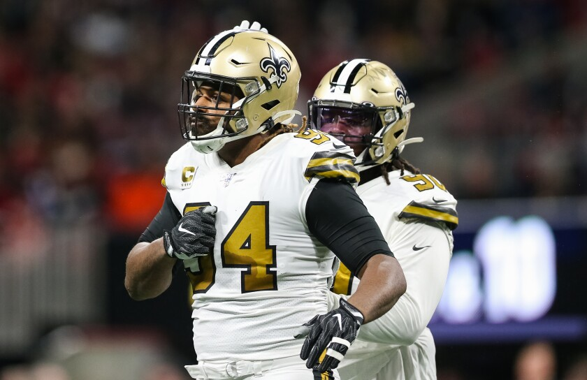 New Orleans Saints defensive end Cameron Jordan celebrates after making a tackle.