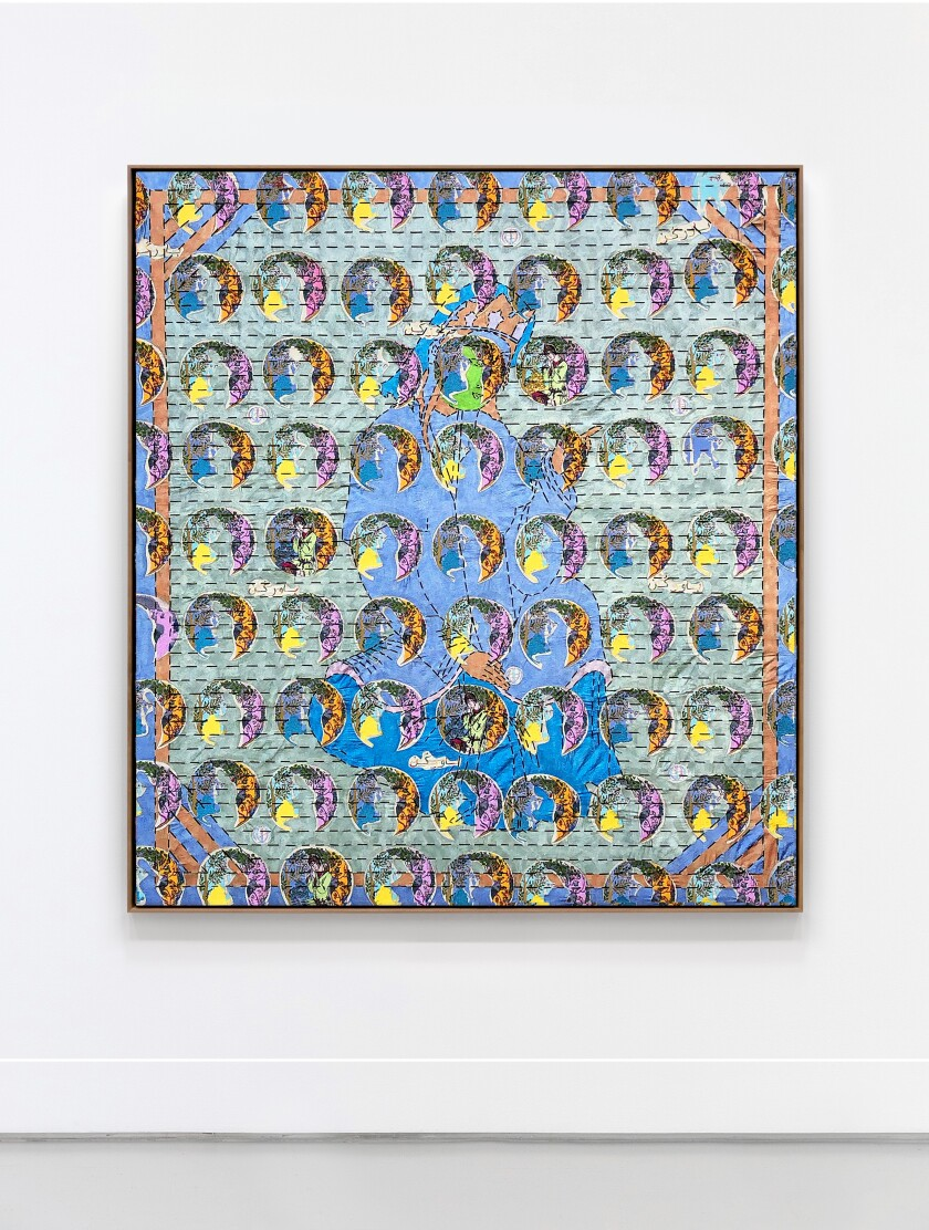 """""""Tahmineh Singing Bavar Kon"""" by Ardeshir Tabrizi, 2019. Silk thread, cotton floss and pearlescent acrylic ink on canvas, 53 inches by 46 inches"""
