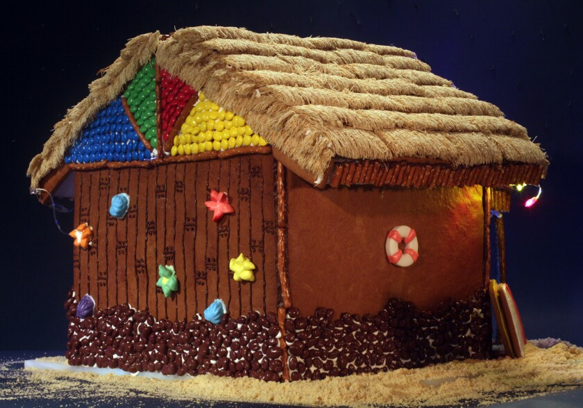 Back of finished gingerbread house.
