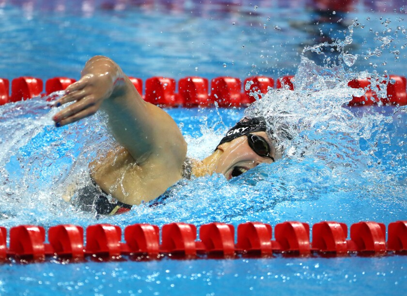 U.S. swimmer Katie Ledecky set a world record in the 400-meter freestyle and won the gold medal at the Olympic Games on Sunday.