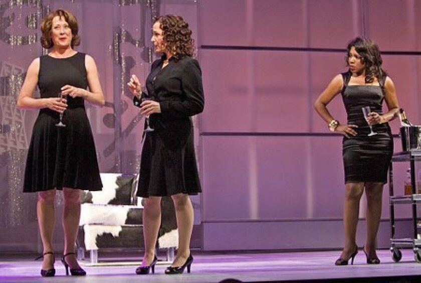 "Annie (Karen Ziemba, left), Brenda (Barbara Walsh) and Elyse (Sheryl Lee Ralph) work to keep their friendships together after their marriages melt down in ""The First Wives Club,"" the new musical at the Old Globe.   (Earnie Grafton / Union-Tribune)"