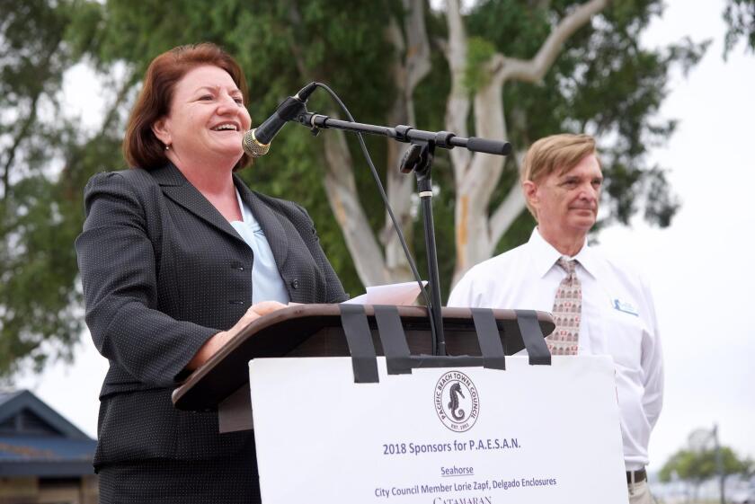 President pro tempore of the California State Senate Toni Atkins and PB Town Council president Greg Daunoras