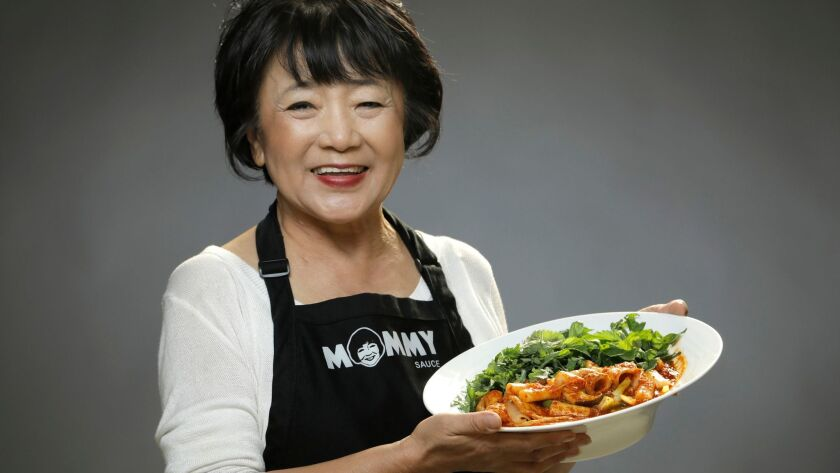 """LOS ANGELES, CALIF. -- FEBRUARY 01, 2018: Jai Nam """"Mommy Choi"""" Choi, makes a traditional spicy Kore"""