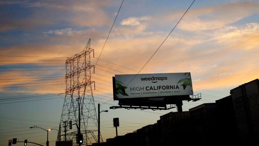 VERNON, CA JULY 19, 2017: A billboard advertising Weedmaps in Vernon, CA July 19, 2017. Maywood,
