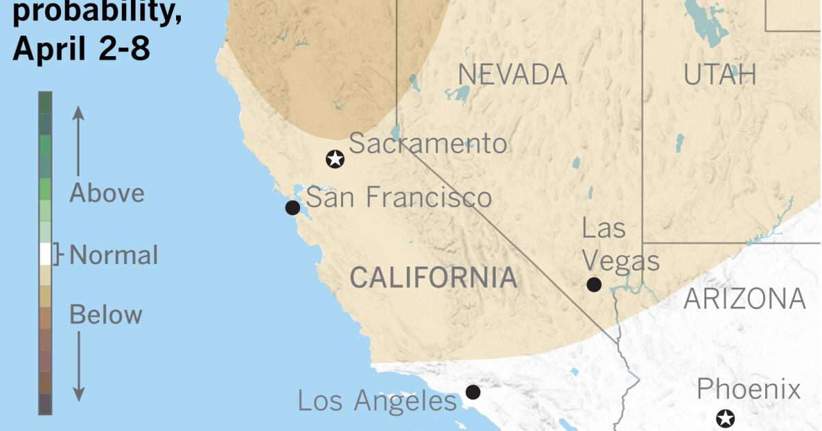 Αρχές απριλίου αναμένεται αναμένεται να είναι κάτω από το φυσιολογικό που είναι πιο αναγκαία στη Βόρεια Καλιφόρνια