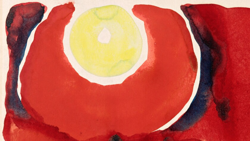 "Detail of Georgia O'Keeffe's ""Evening Star No. VI,"" 1917. The artwork appears below in its entirety."