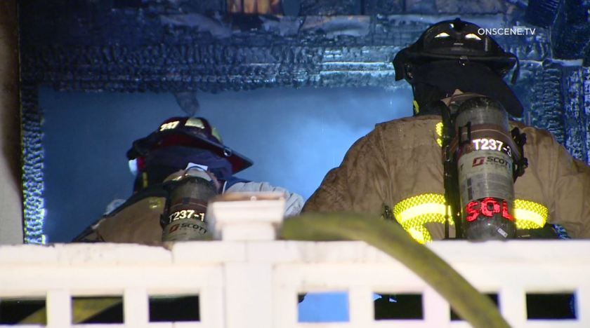 The blaze was reported about 8:10 p.m. at a home on Arroyo Drive in a neighborhood off Encinitas Boulevard and Vulcan Avenue