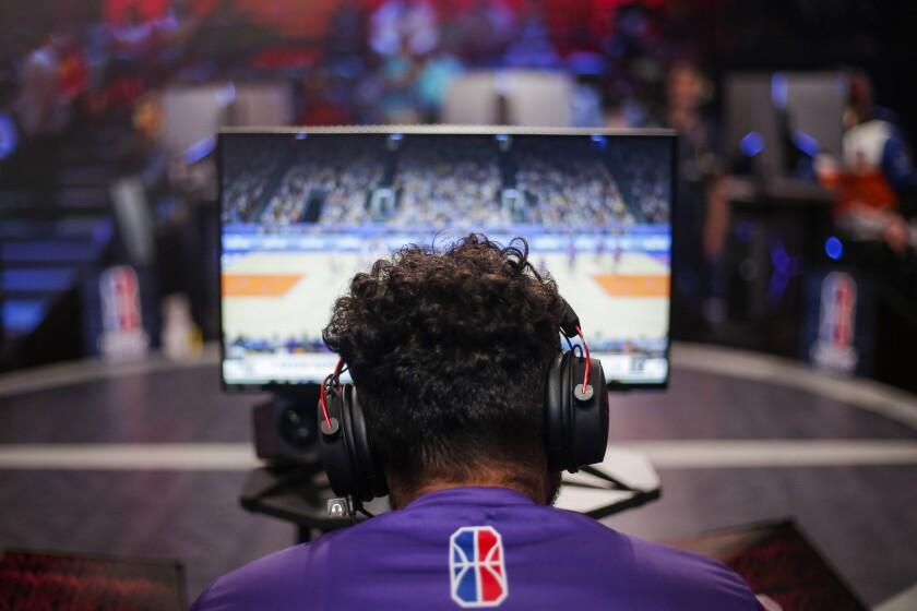Lakers Gaming small forward Kevin (Kev) Alvarado, 20, plays against Knicks Gaming at the NBA 2K Leag