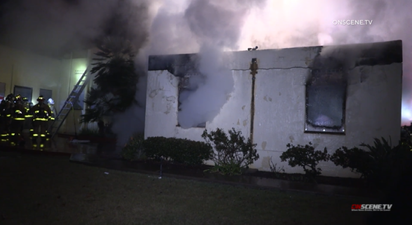 A fire broke out at a historic Liberty Station Admirals Row home early Jan. 24.