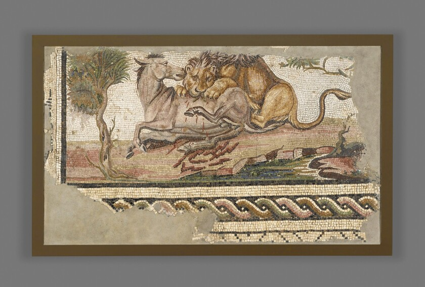 """""""Floor Mosaic With a Lion Attacking an Onager,"""" 2nd century."""