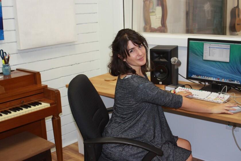 Kalabash Music and Arts School co-founder Natasha Kozaily in the school's recording studio.