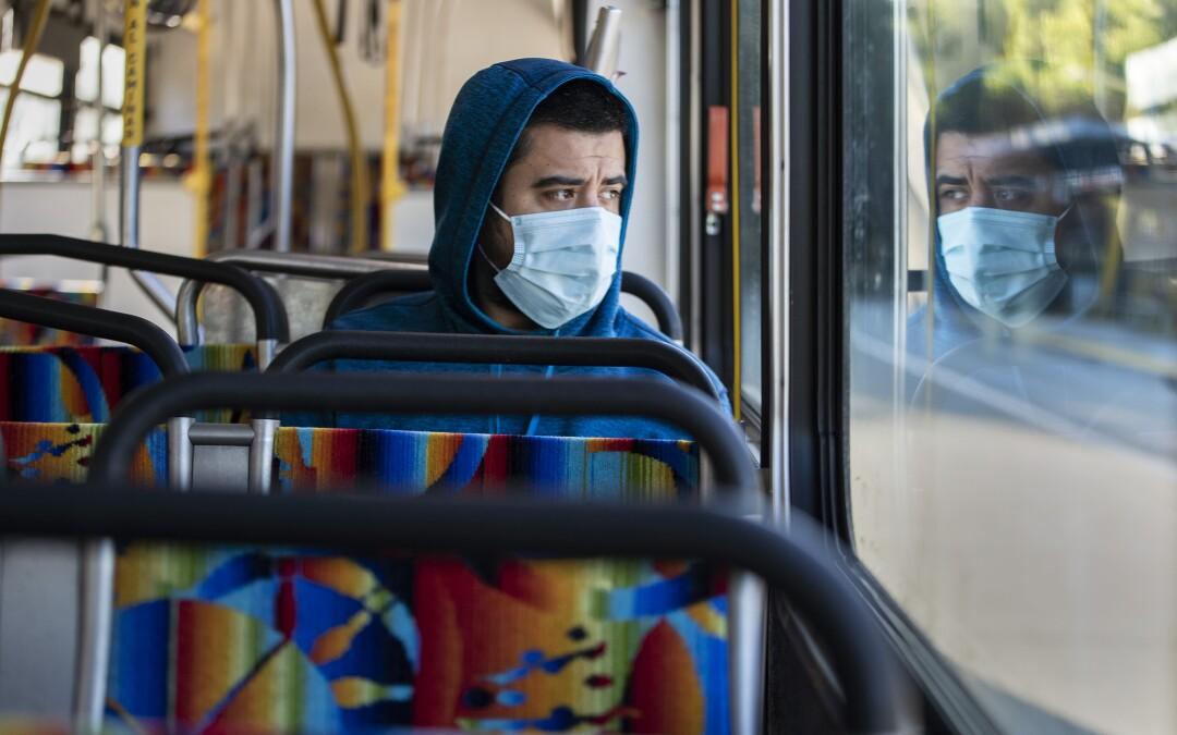 Danny Armada on an Orange Line bus in Woodland Hills.