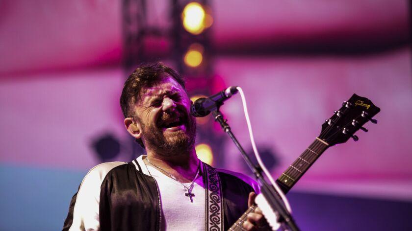 PASADENA, CA -- SUNDAY, JUNE 24, 2018-- Headliners Kings of Leon perform during Arroyo Seco 2018 wee