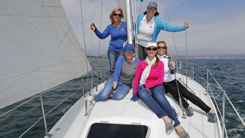 Women's Sailing Association Orange County members, clockwise from top left, Valerie Rhodes, Gabi Sch