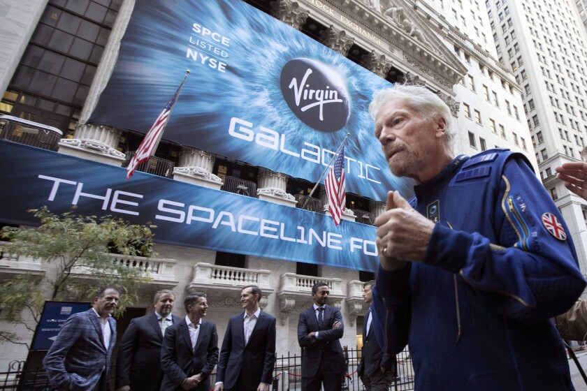Richard Branson outside the New York Stock Exchange before his company's 2019 IPO.