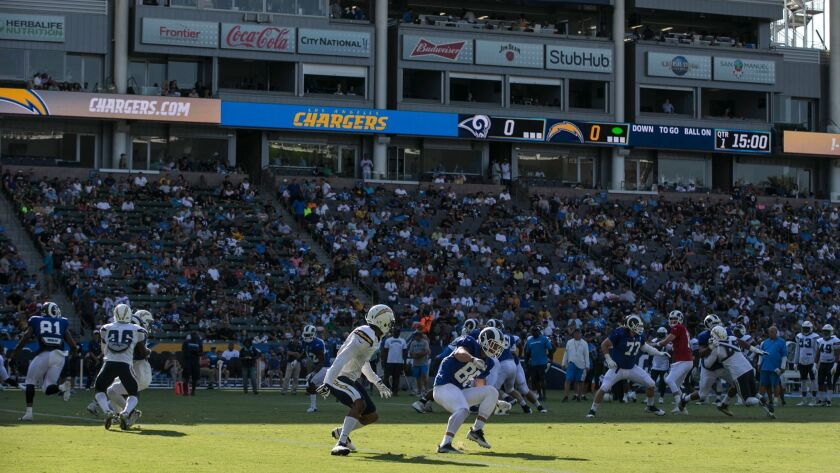 A moderate sized crowd looks on from the shaded seats on the West side of StubHub Center as Chargers