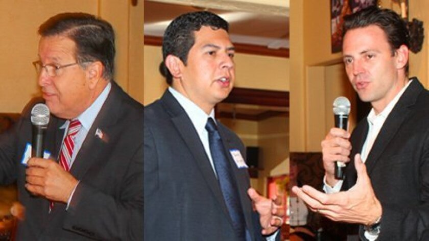 Mayoral candidates (from left) Mike Aguirre, David Alvarez and Nathan Fletcher addressed the La Jolla Newcomers Club Nov. 1. Pat Sherman/Daniel Lew