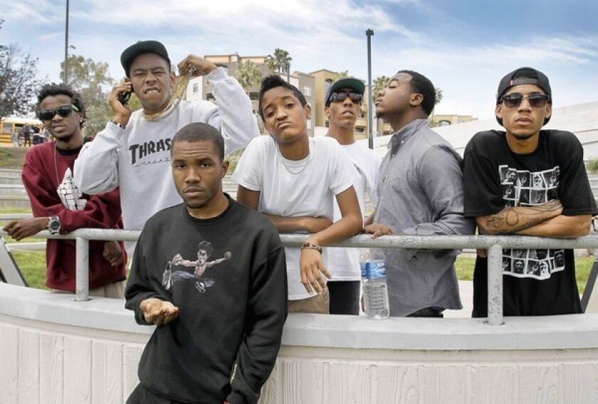 Members of the Odd Future hip-hop collective from left include Mike G., Tyler the Creator, Frank Ocean, Syd the Kid, Left Brain, Domo Genesis and Hodgy Beats. The Los Angeles-based group will be playing Coachella for the first time.