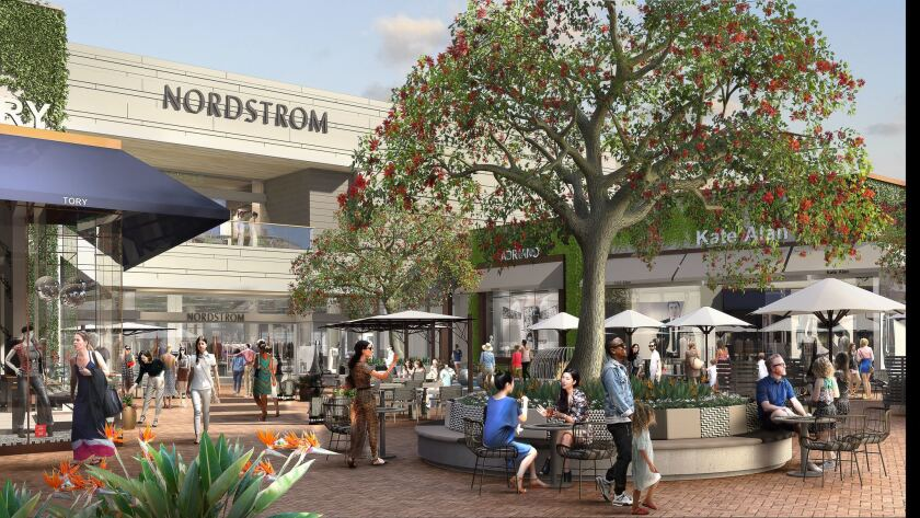 Rendering of new Nordstrom store and adjacent retail shops and lounge areas at Westfield UTC.